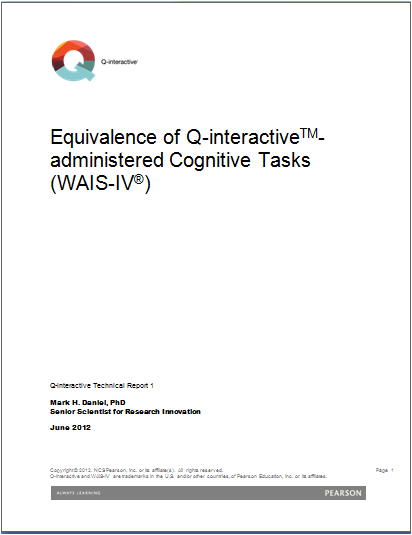 WAIS-IV: Equivalence of Q-interactive - Administered Cognitive Tasks