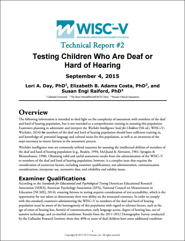 WISC–V: Technical Report 2: Testing Children Who Are Deaf or Hard of Hearing