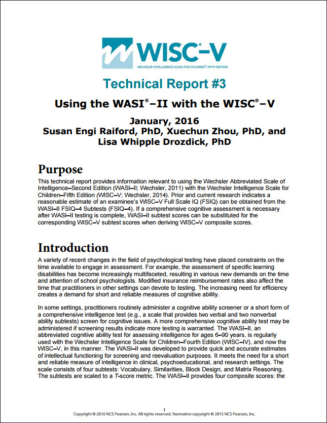 WISC–V: Technical Report 3: Using the WASI-II with the WISC-V