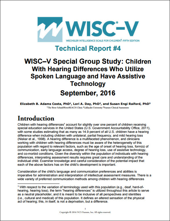 WISC–V: Technical Report 4: Children with Hearing Differences Who Utilise Spoken Language and Have Assistive Technology